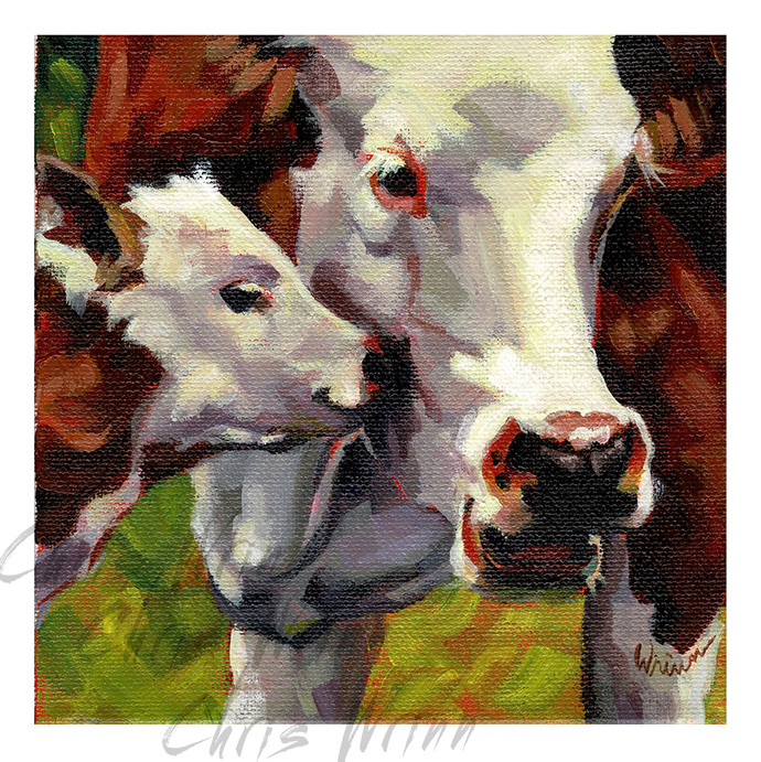 Calf with Mom on a 6x6 inch Canvas, Cute Cow painting, Farmhouse Art, Farmhouse