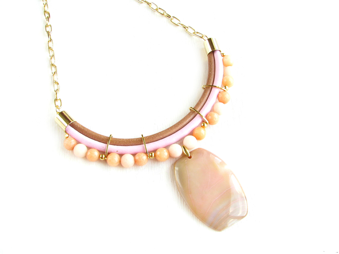 """Natural Agate Necklace """"Pink flair""""pendant necklace,gemstone necklace"""