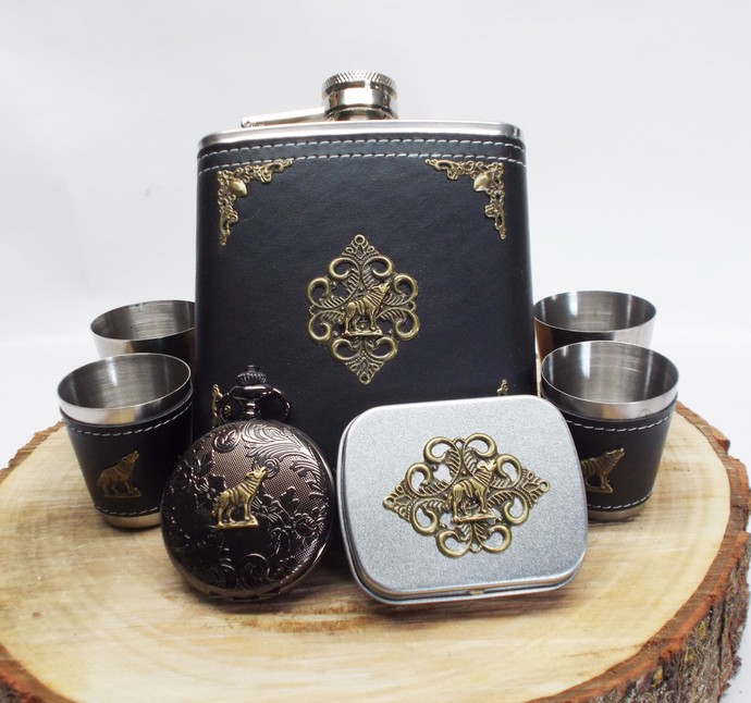 Flask Set and Pocket Watch with Mini Tin Black and Bronze Howling Wolf Artisan