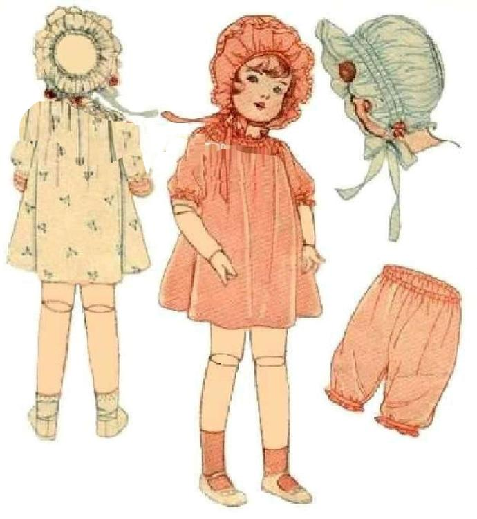 Instant PDF Digital Download Vintage Full Size Sewing Pattern Dolls Clothes Rare