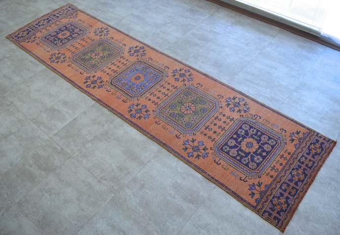 Distressed Runner Rug. 3x11 Runner Hallway Decor Turkish Oushak Runner Tribal