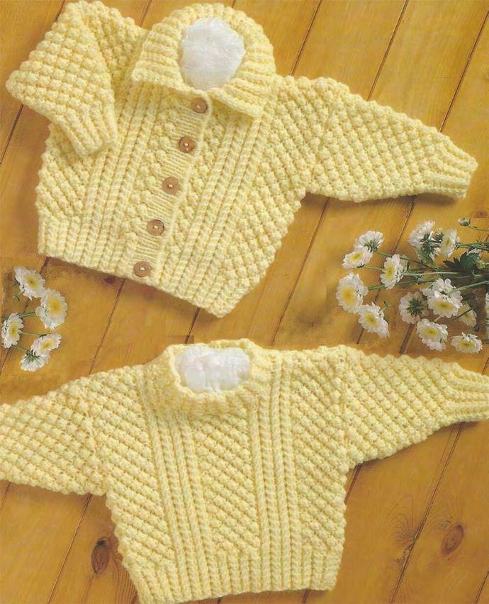 PDF Digital Knitting Pattern Baby Children's Aran Cable Sweater & Cardigan 16 to