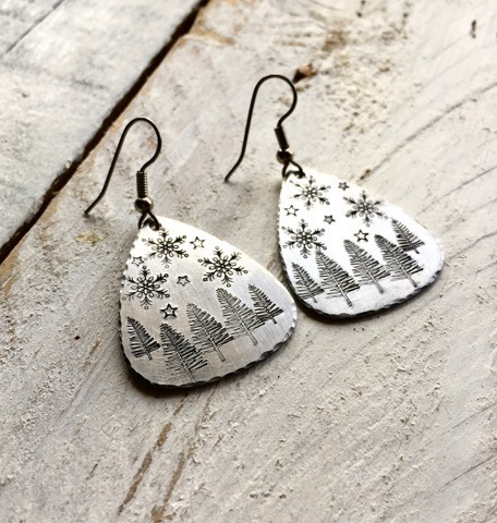 Hand Stamped Winter Scene Earrings, Lightweight, Hammered Edges, Snowflakes,