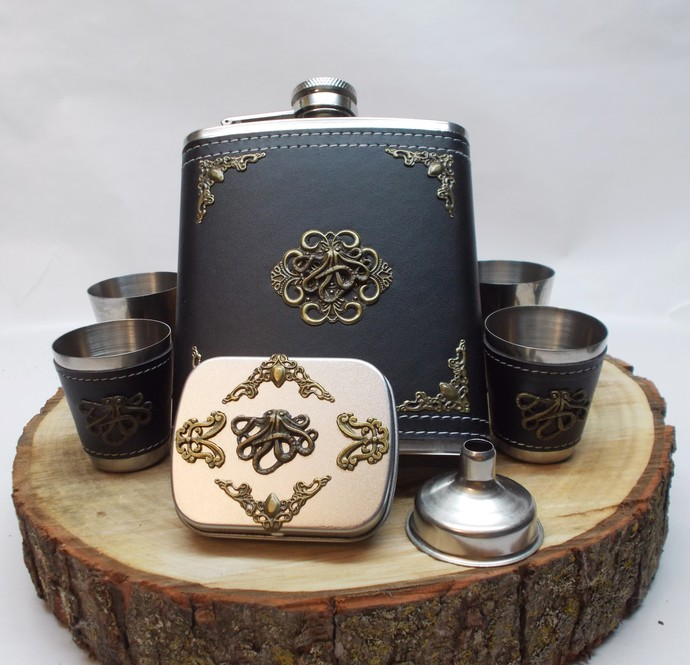 Octopus Flask Set and Mini Tin Black and Bronze Nautical Style Artisan Designed