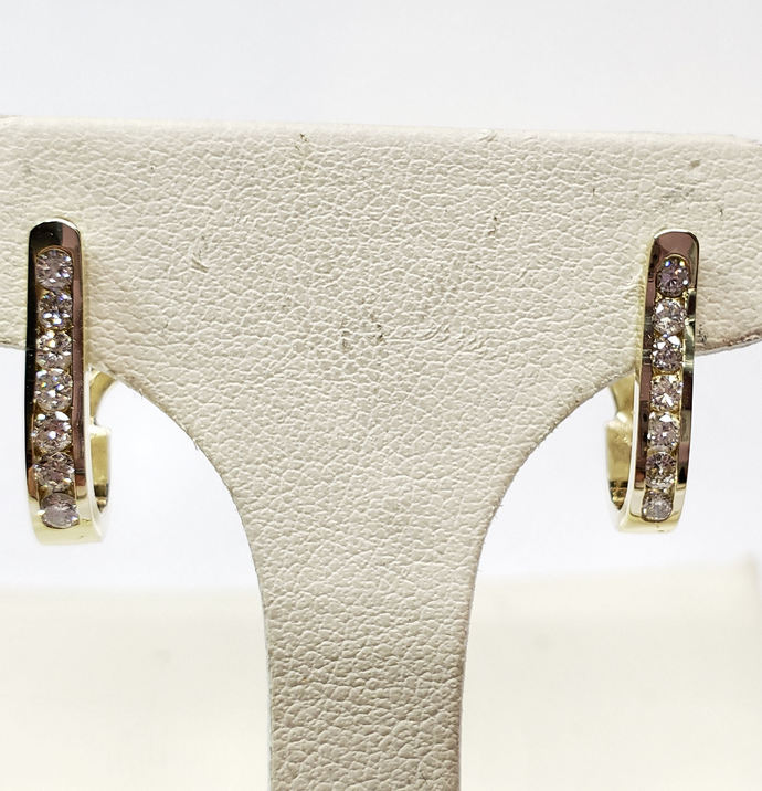 Diamond Hoop Earrings 1/3cts. with Posts & Omega Backs