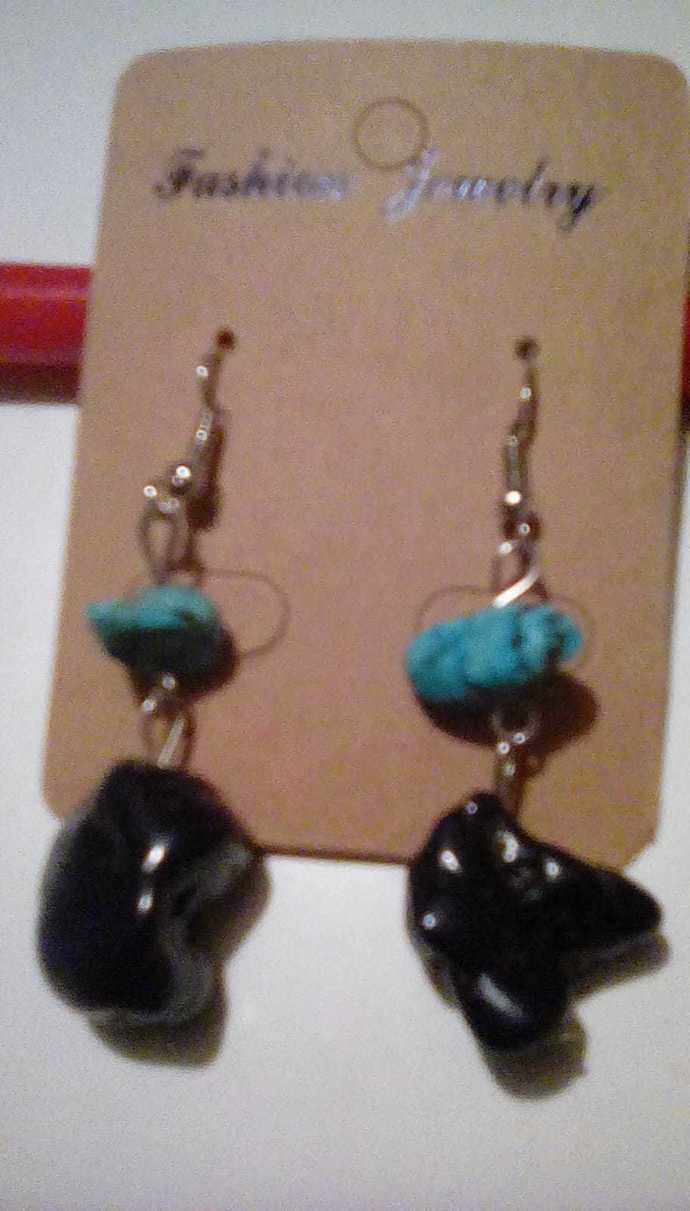 Obsidian and Turquoise Earrings, Handmade Jewelry