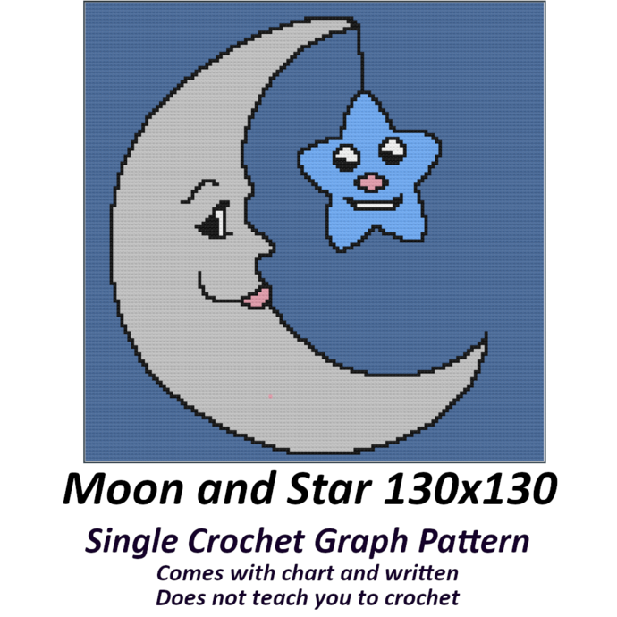 Moon and Star Blanket Crochet Graph Pattern