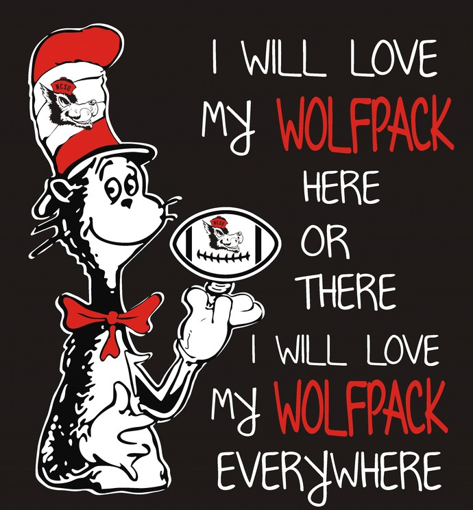 Cat in the hat, I will love my Wolf Pack here or there I will love my Wolf Pack