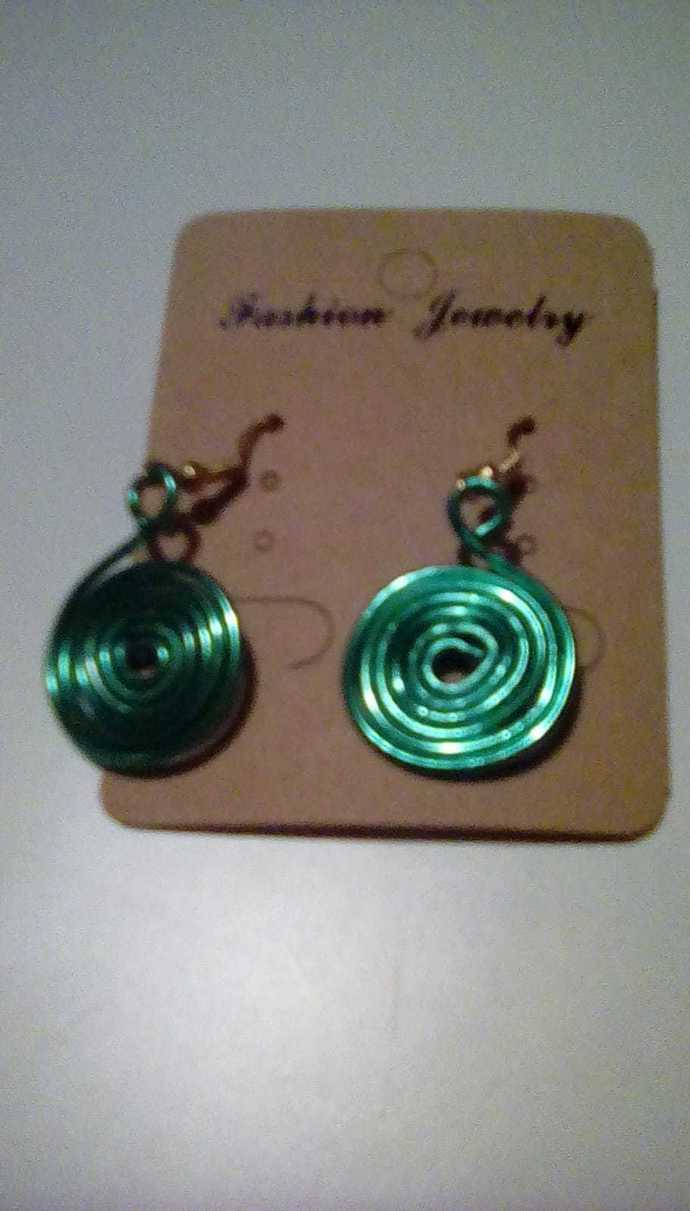 Spiral Earrings, Handmade Jewelry, Green, Pink, Dark Blue, Red and Blue Spiral
