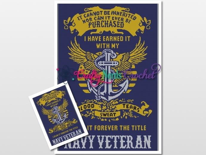 Navy Veteran (2) Pattern Graph With Single Crochet Written