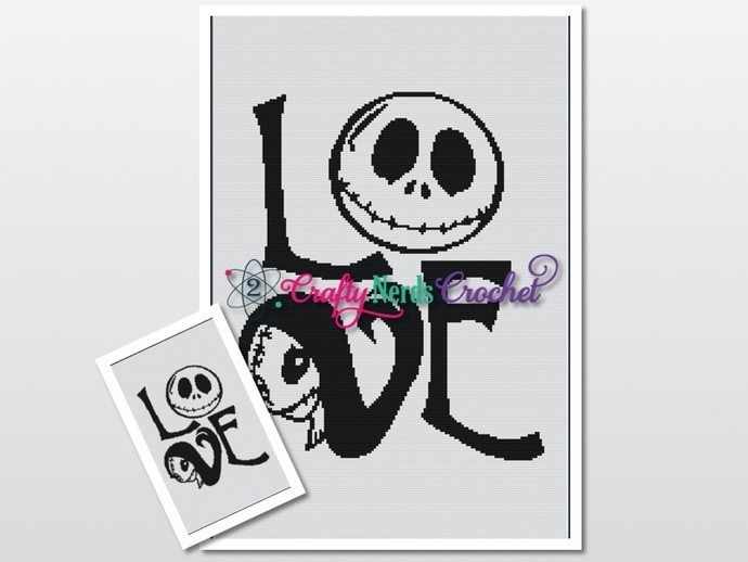 Jack and Sally Love Queen Pattern Graph With Single Crochet Written