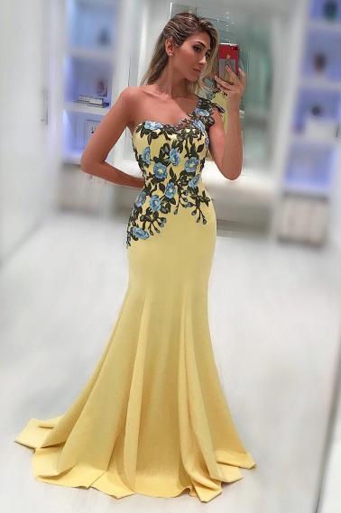 One Shoulder Mermaid Spandex Prom Dresses With Applique Sweep Train,FLY548