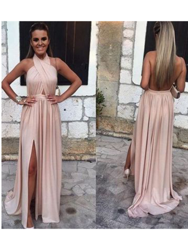 Sexy Open Back Halter Evening Dresses A Line With Slit Chiffon,FLY550