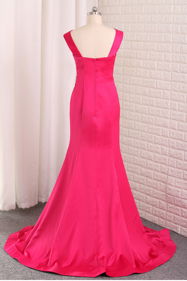 Evening Dresses Mermaid Off The Shoulder Stretch Satin Sweep Train,FLY551