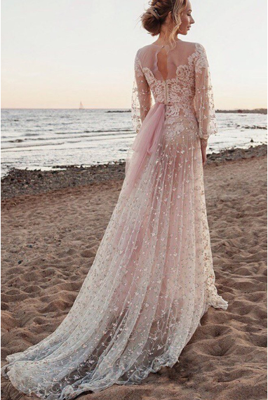 Scoop Long Sleeves Lace Prom Dresses A Line With Applique,FLY555