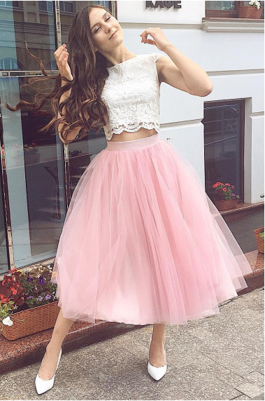 Two-Piece Homecoming Dresses Bateau A Line Tulle & Lace Tea Length,FLY561