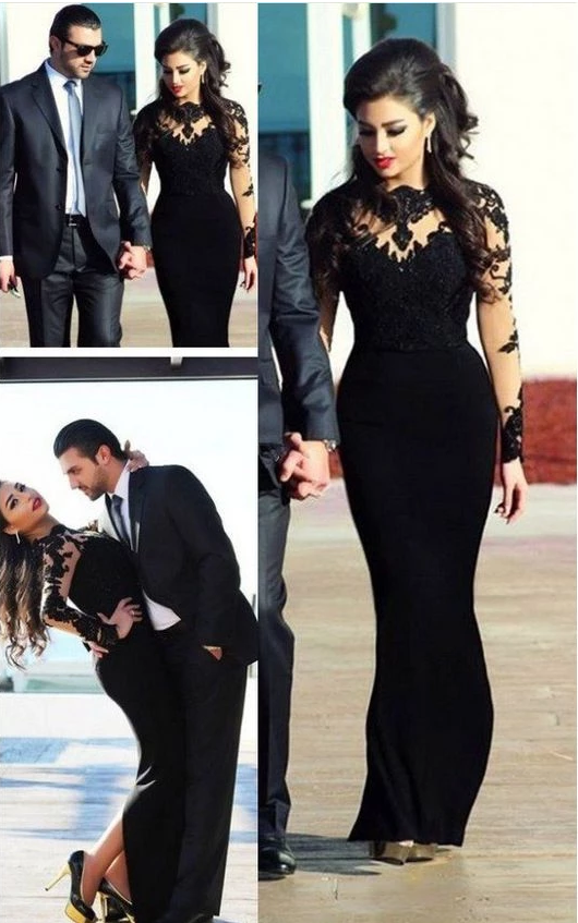 Cheap Black Illusion Appliques Sheath Long Sleeves Long Prom Dresses,FLY562