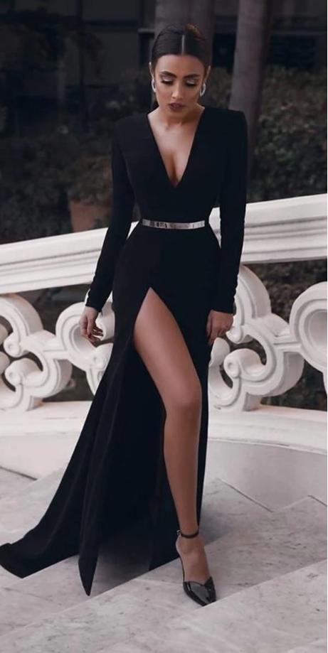 Elegant Black Long Sleeves Prom Dresses, Charming Prom Dress With Slit,FLY563