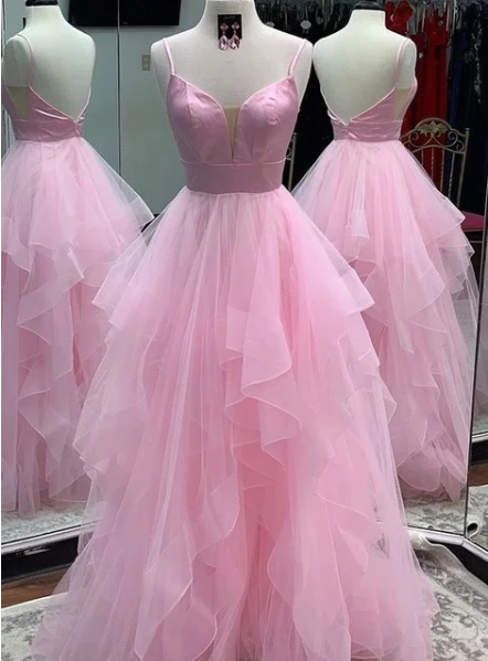 Cute Pink Tulle Open Back Long Prom Dress, Evening Dress,FLY565