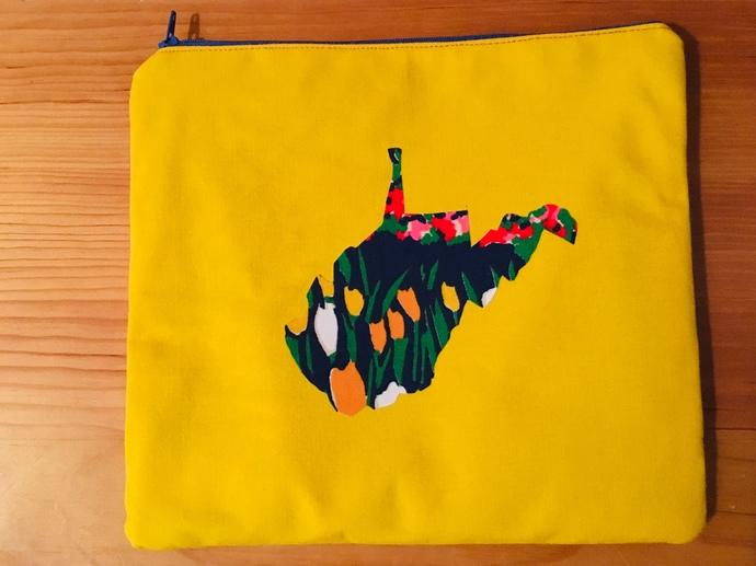 West Virginia Makeup Bag ~ Zipper Pouch ~ Floral Fabric