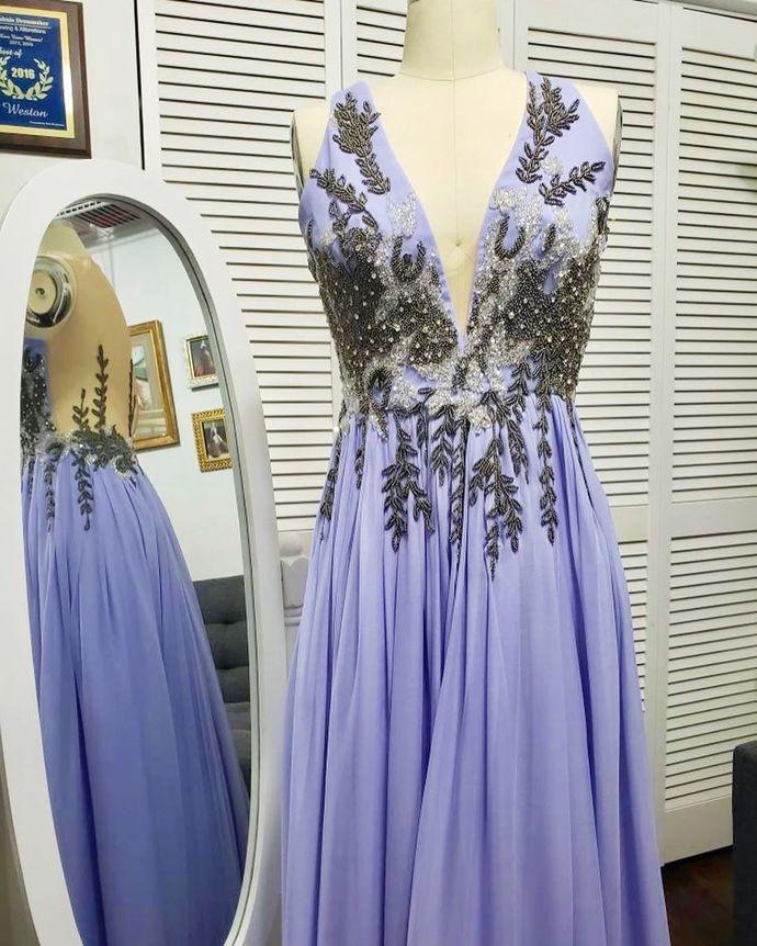 Purple Prom Dress,Chiffon Prom Gown, Appliques Prom Dress, V-Neck Prom Gown 0001