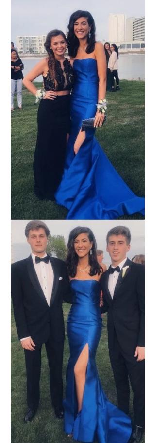 Gorgeous Strapless Royal Blue Formal Dress With Side Slit, Long Royal Blue Long