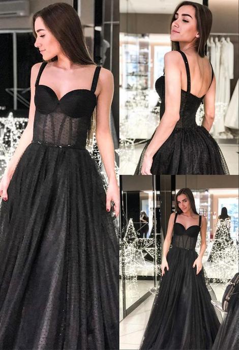 Modest A-Line Straps Long Prom Dress Sleeveless Black Evening Dress,FLY584