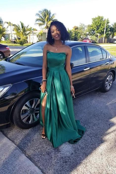 Hunter Green Satin Prom Gown Strapless Maxi Long Dress with Side Slit ,FLY587