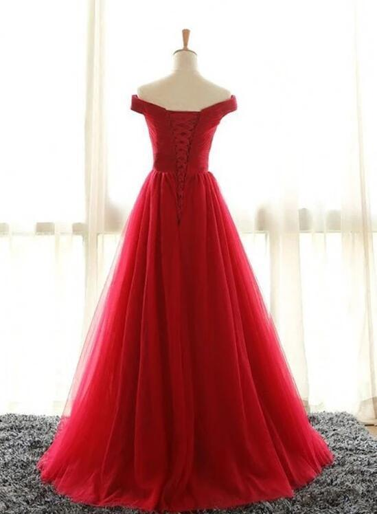 Red Long Tulle Bridesmaid Dress, A-line New Prom Dress 2020
