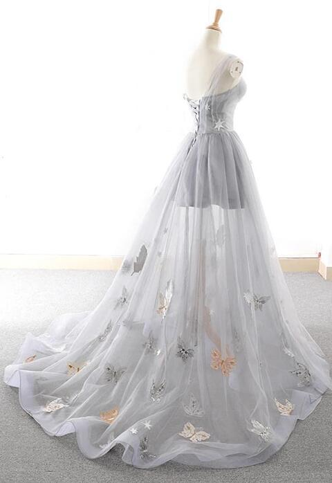 Grey Sweetheart Tulle Long Prom Dress, Wedding Party Dress