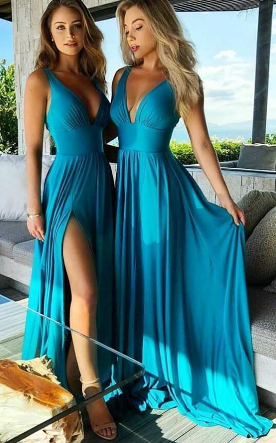 Deep V neck A Line Bridesmaid Dress with High Slit
