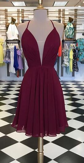 Simple Burgundy Short Party Dress, Sleeveless Prom Gowns
