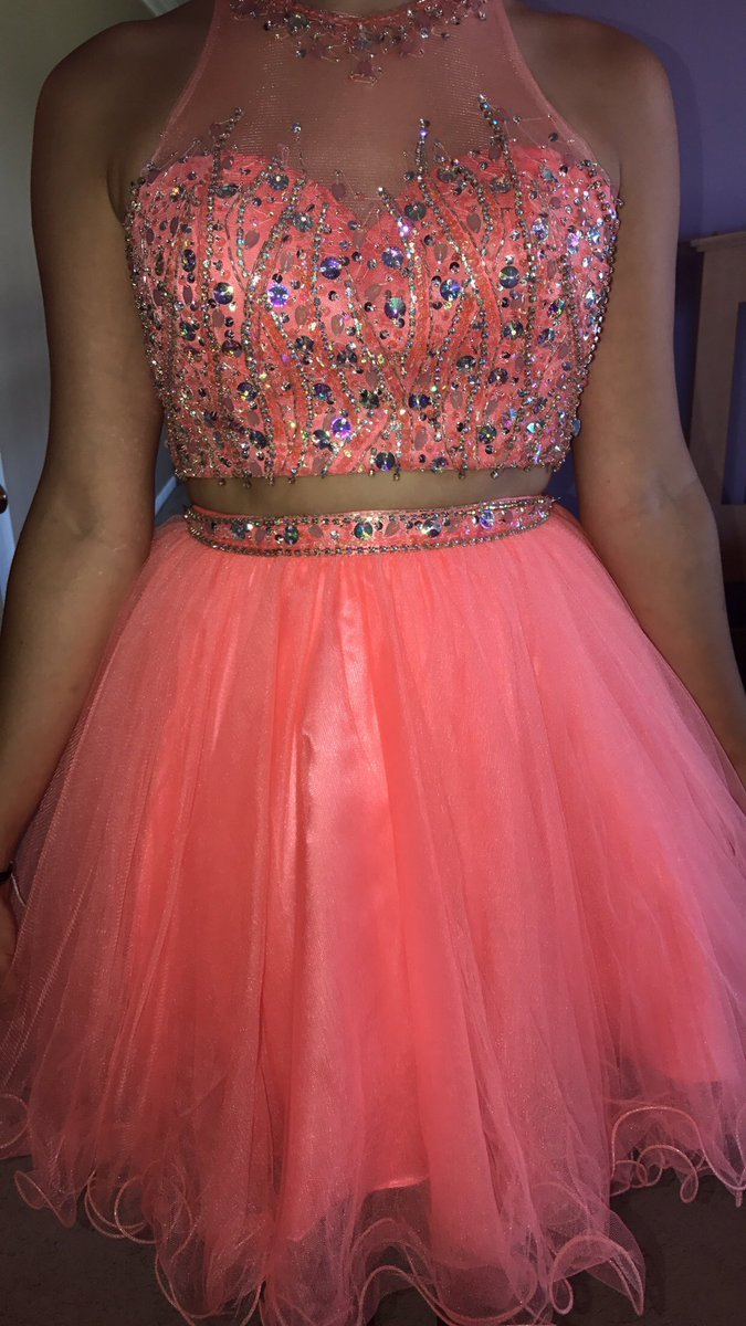 Elegant Tulle Beaded A Line Prom Dress, Two Piece Short Homecoming Dress