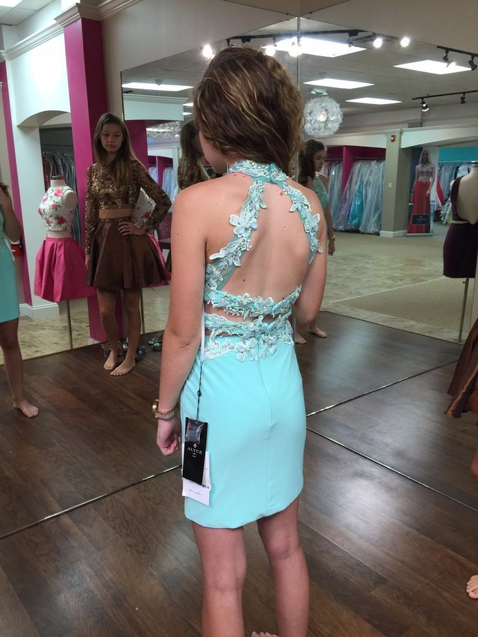 Halter Tight Backless A Line Prom Dress, Appliques Short Party Gown