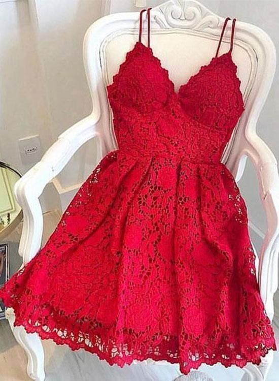 Cute Straps Red Lace Mini Party Dress, Red Cocktail Dress