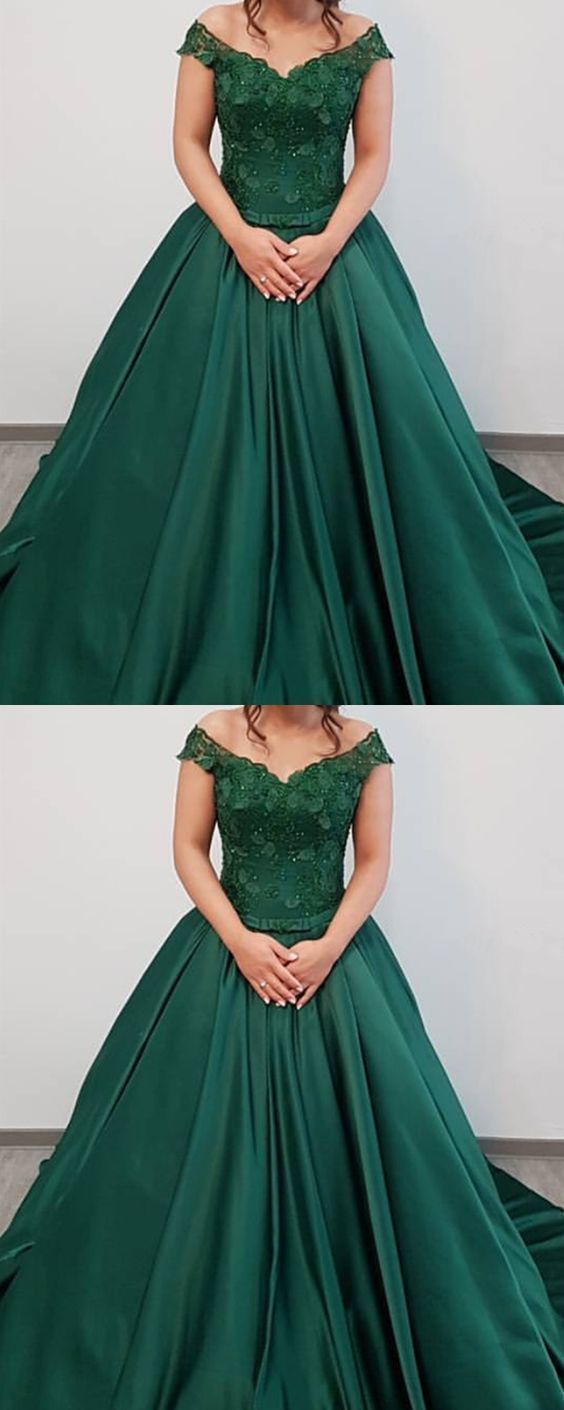 Dark Green Off the Shoulder Long Prom Dress with Beads, Formal Evening Dress