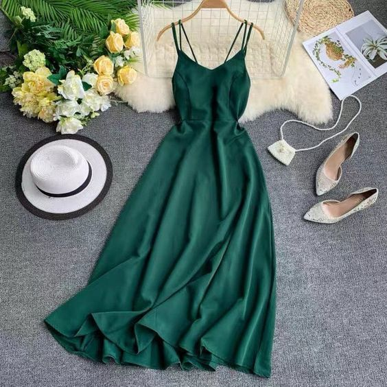 Charming Straps Dark Green A Line Prom Dress, Long Evening Party Dress