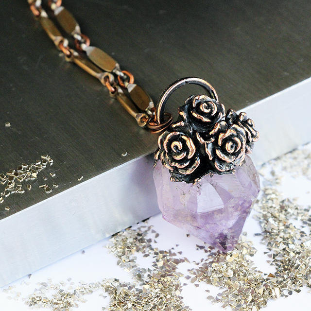 Copper Amethyst Pendant ~ Copper Electro-formed Amethyst Druzy Rose Bouquet  ~