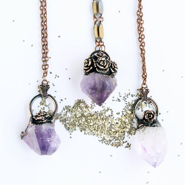 Copper Amethyst Pendant ~ Copper Electro-formed Amethyst Druzy Rose Bouquet  ~
