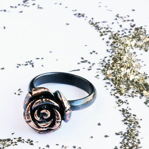 Copper Rose Ring ~ Black Copper Electro-formed Single Rose Ring ~ Gift for Her ~