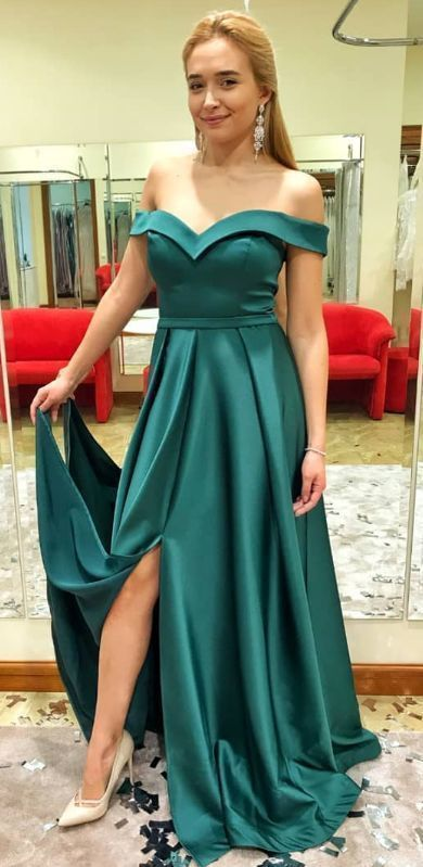 Off the Shoulder A Line Prom Dress Evening Gown with Slit