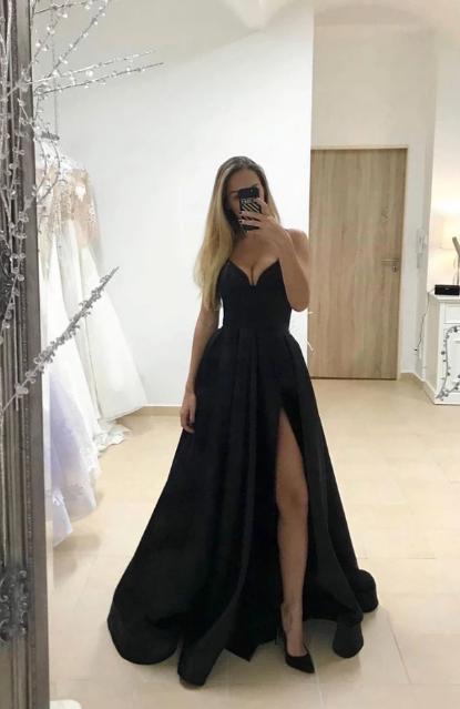 V neck Black A Line Prom Dress, Split Slit Evening Party Dress