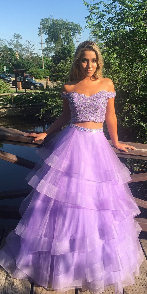 Off the Shoulder A-Line Lace Top Floor-Length Two Piece Prom Dress