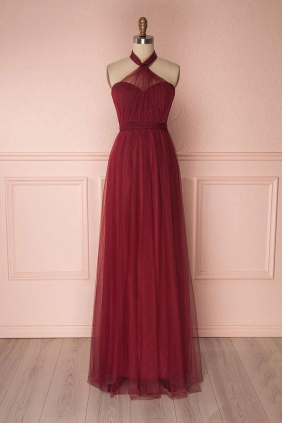 Burgundy Tulle Floor Length Long Prom Dress, Burgundy Evening Dress