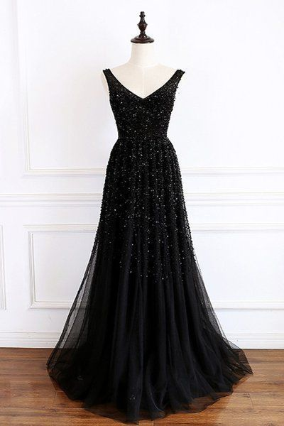 V neck Black A Line Prom Dress, Black Evening Dress