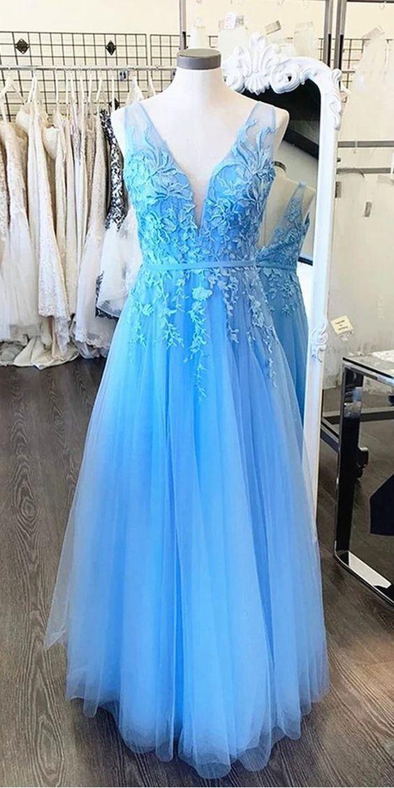 A Line V Neck Light Blue Tulle Prom Dresses, Appliques Long Evening Dresses