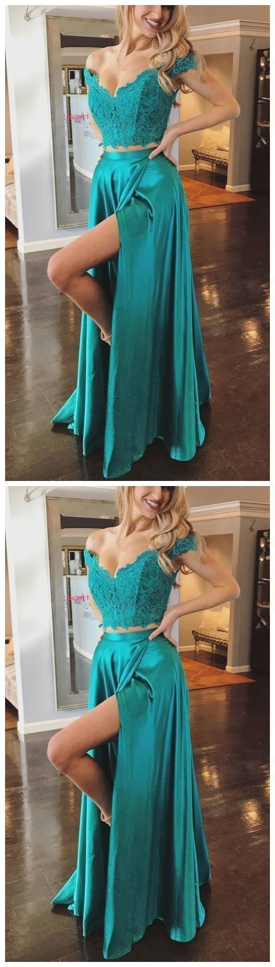 Fashion Off Shoulder Lace Prom Dress, Split Slit Evening Party Dress