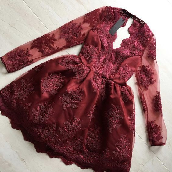 Long Sleeve Burgundy Appliques Short Homecoming Dress Prom Gowns