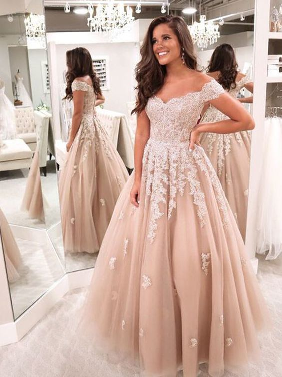 Off the Shoulder Tulle Appliques Formal Prom Dress, Lace-up Ball Gowns