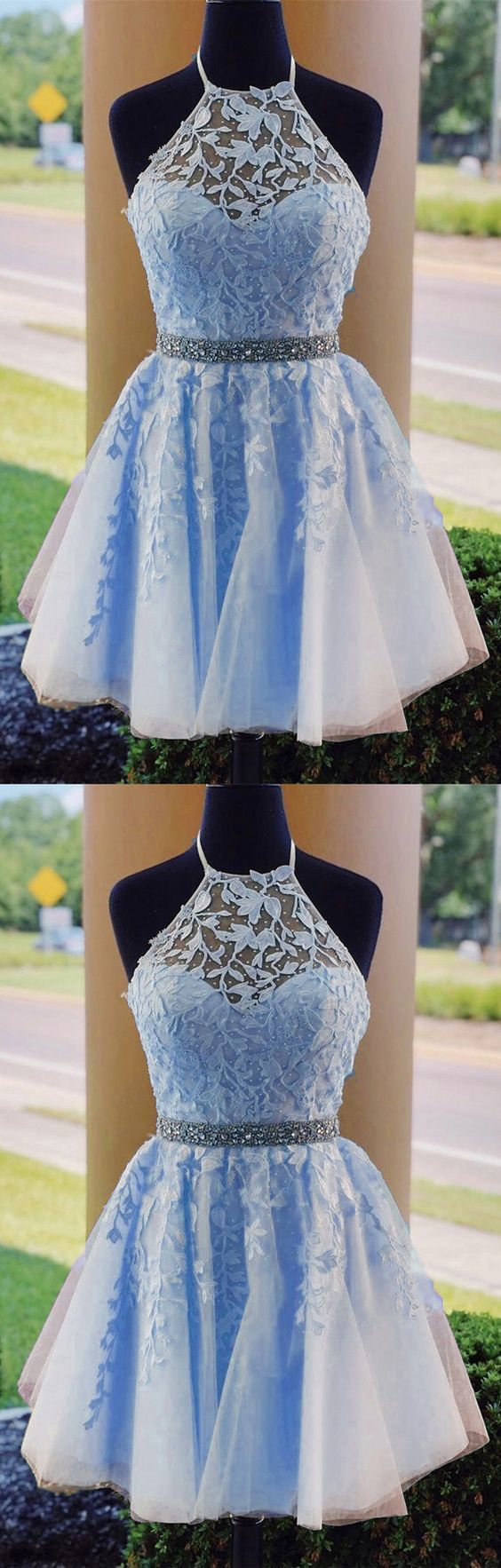 Light Blue Halter Tulle Short Homecoming Dress, Appliques Prom Dresses
